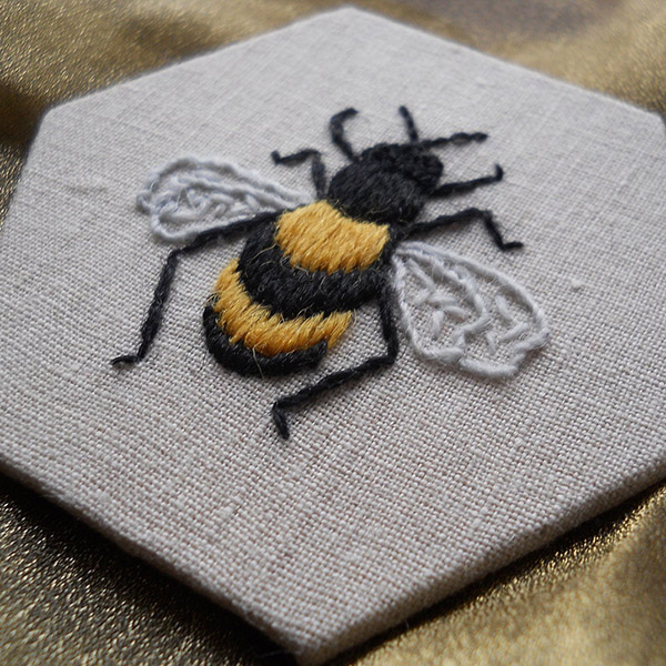 bee crewelwork embroidery kit by Sarah Homfray