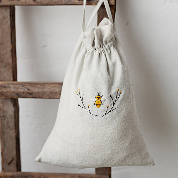 embroidered bee linen pouch bag by all the beautiful linen