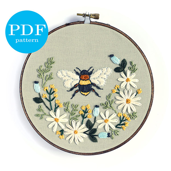 floral bee embroidery pattern by floralsandfloss