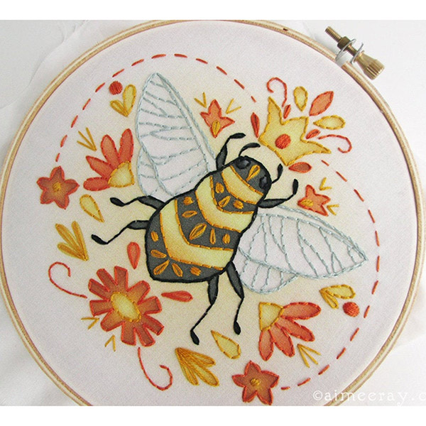 queen bee embroidery kit by Aimee Ray