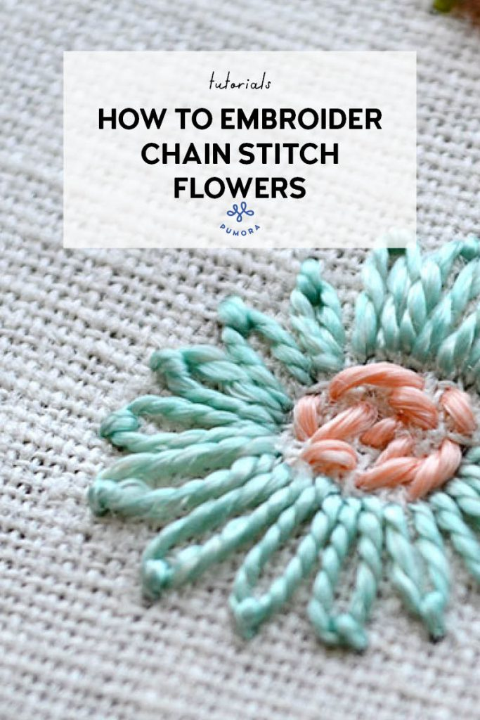 how to embroider chain stitch flowers