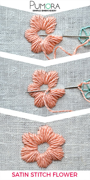 How to embroider flowers with satin stitch