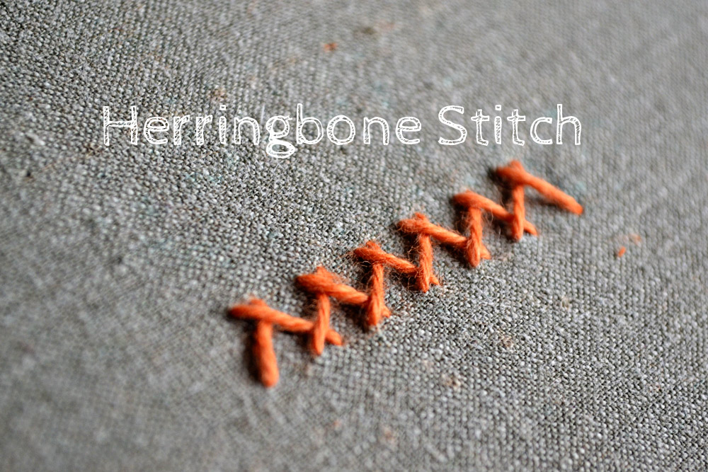 how to embroider the herringbone stitch