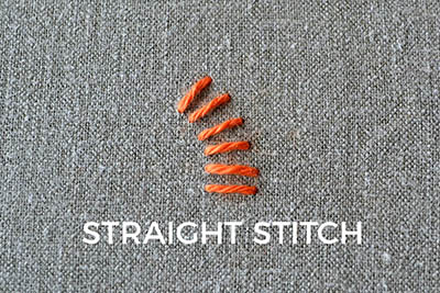 how to embroider the straight stitch