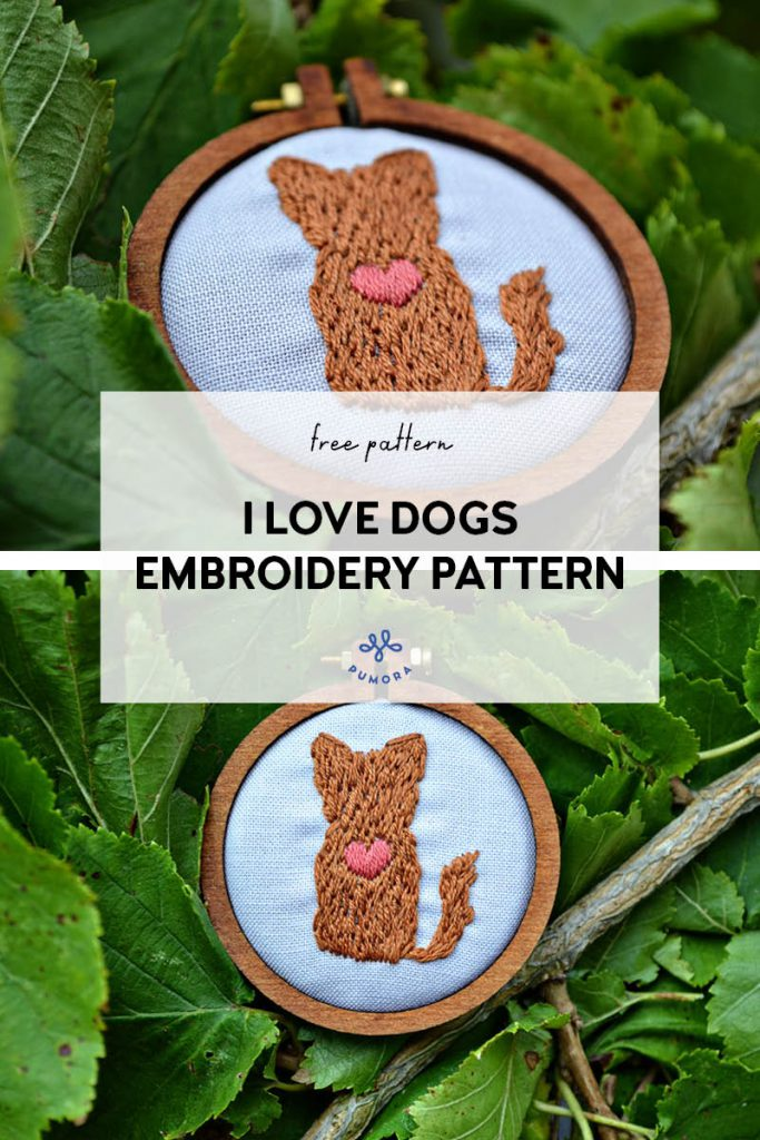 i love dogs free embroidery pattern