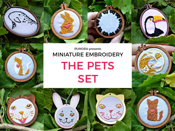 miniature embroidery pattern set pets