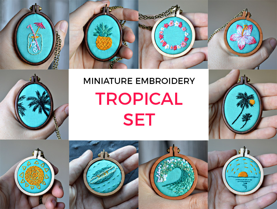 miniature embroidery tropical