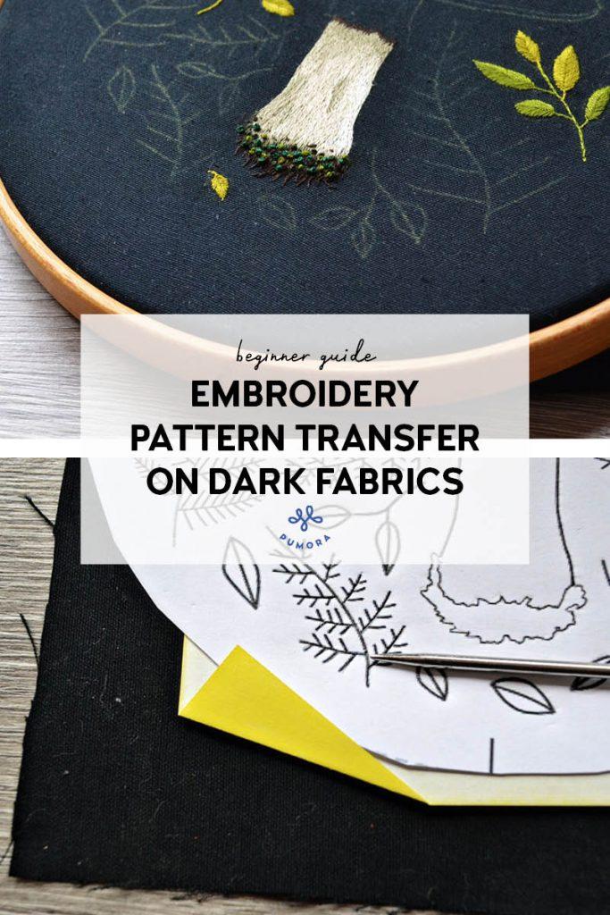 embroidery pattern transfer on dark fabrics