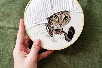 anya helm custom cat embroidery portrait