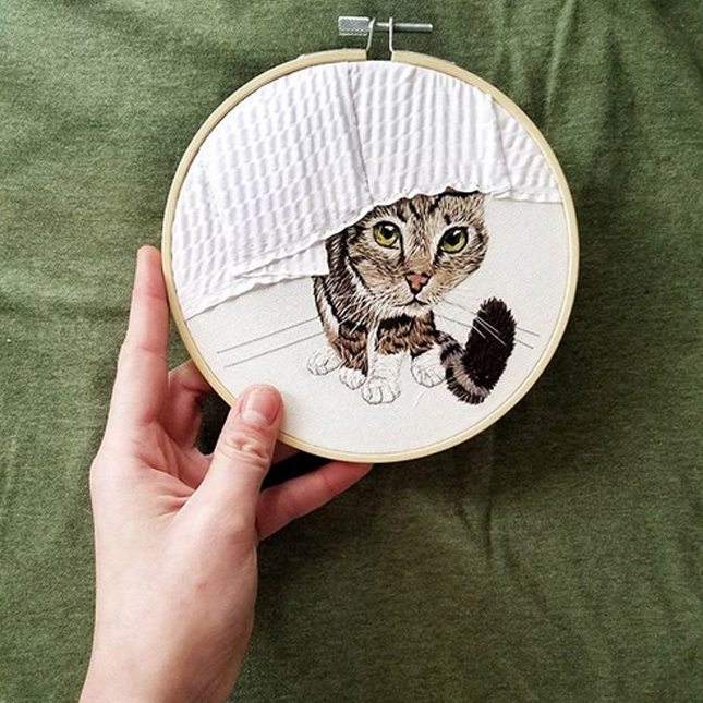 anya helm custom cat embroidery portrait
