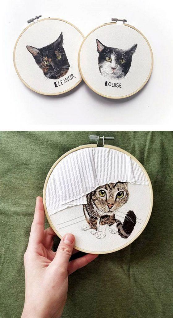custom pet portrait embroidery art - Anya Helm interview
