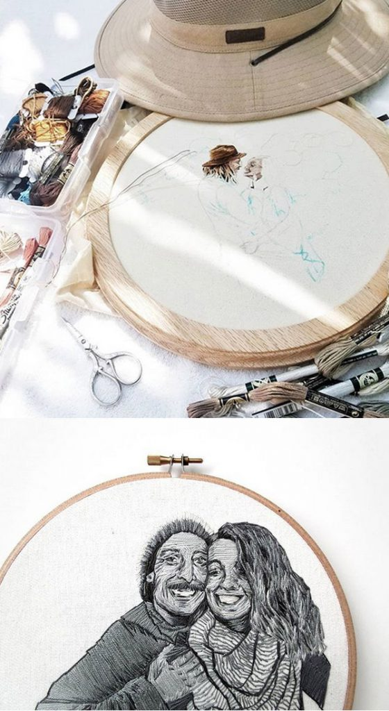 embroidered couple portraits Anya Helm interview