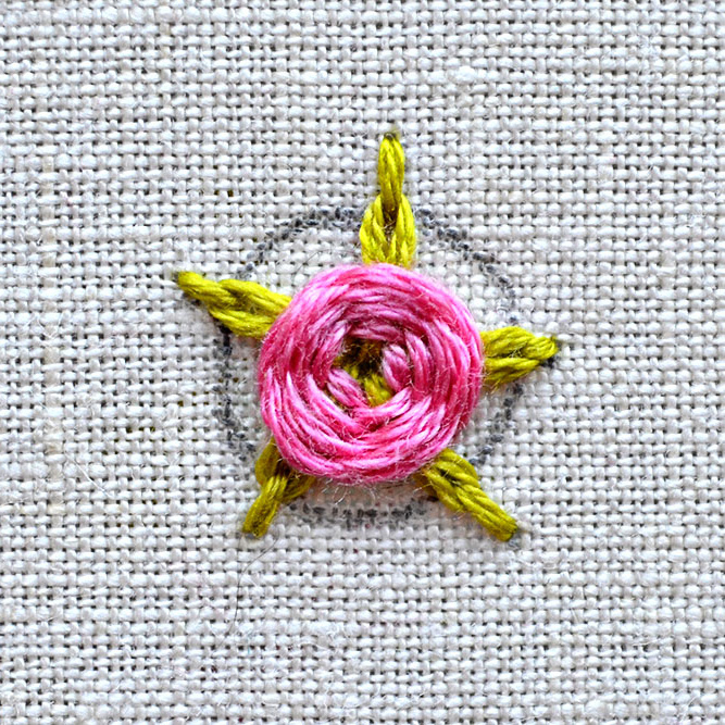 woven rose with chain stitch flower tutorial