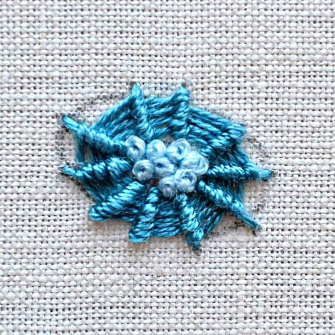 whipped wheel with knotted center flower embroidery tutorial