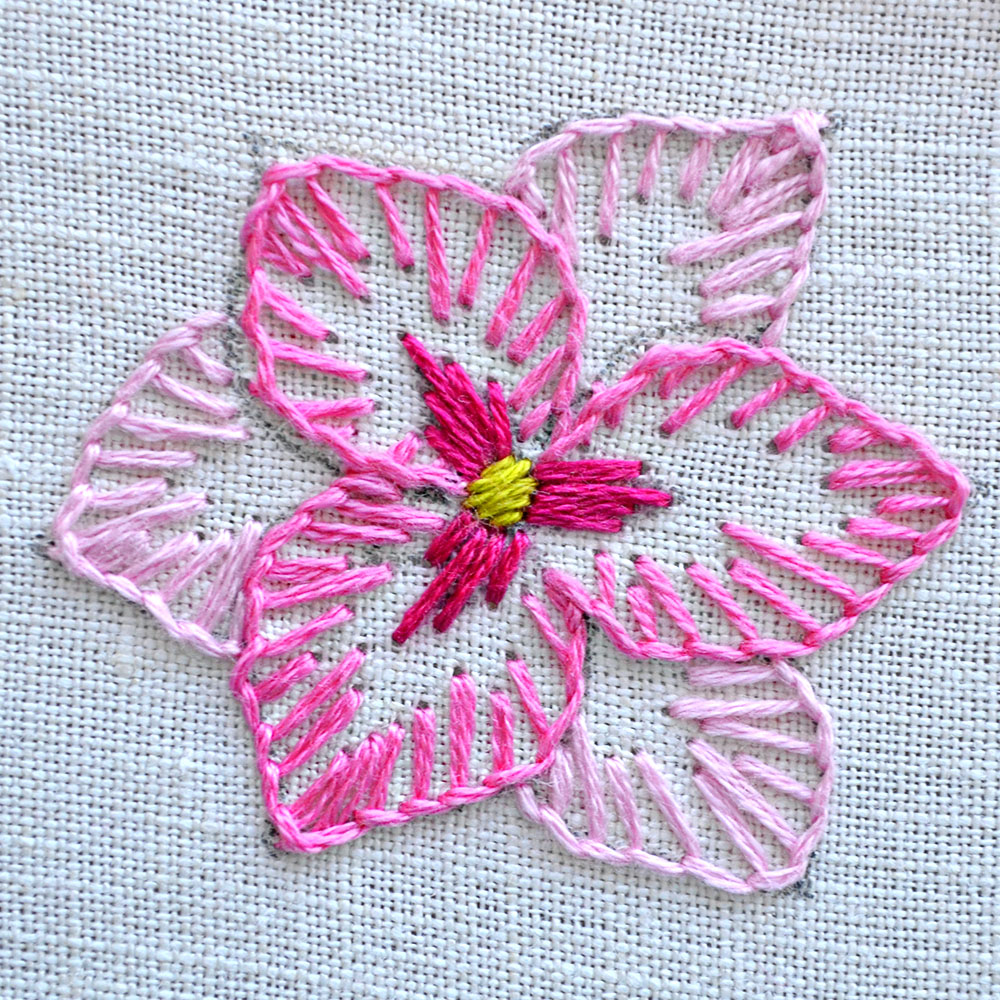 blanket stitch flower embroidery tutorial - Pumora