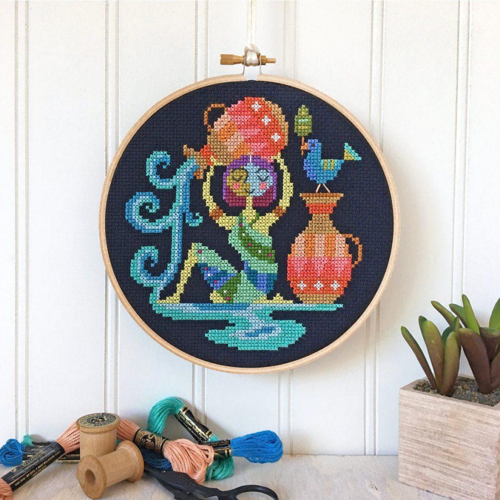 satsuma street cross stitch zodiac aquarius