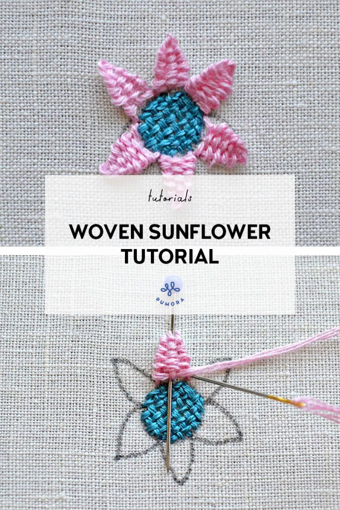 woven sunflower embroidery tutorial