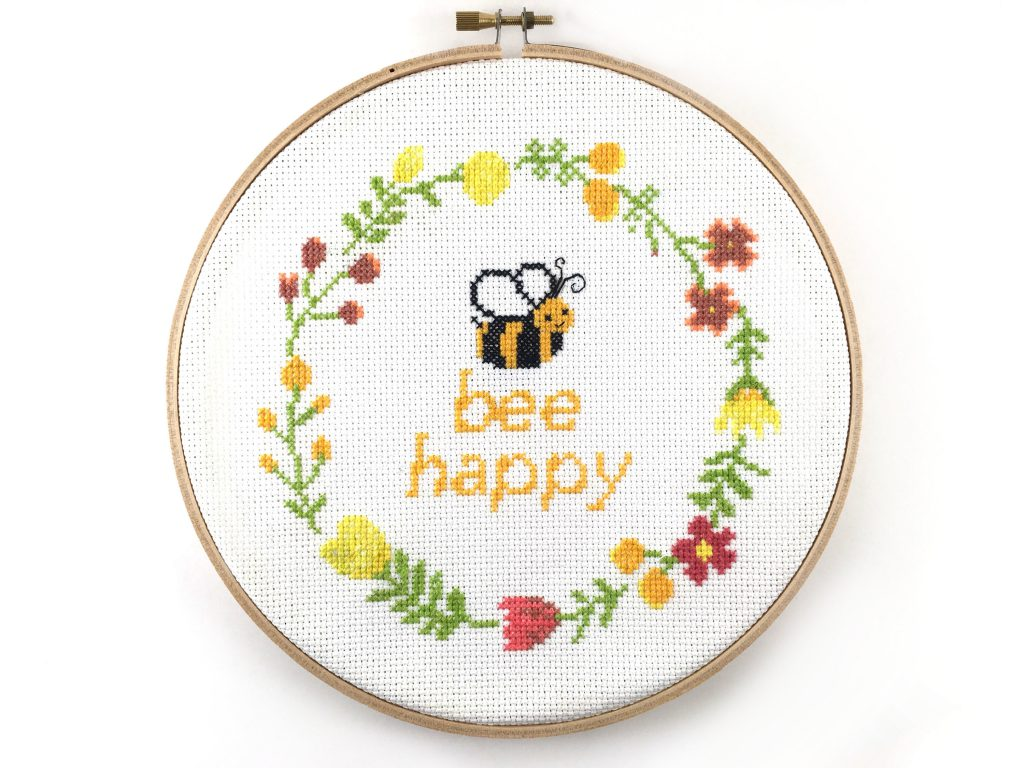 Bee happy cross stitch kit by leia patterns