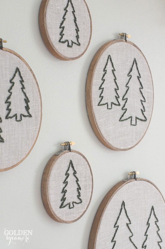 Christmas tree embroidery wall art by the golden sycamore