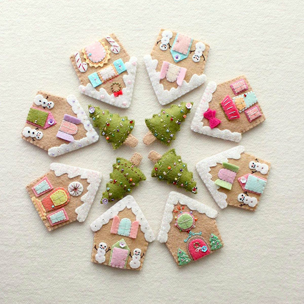 GingerMelon Gingerbread houses Christmas ornaments