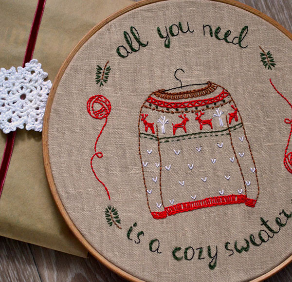 naive needle christmas sweater embroidery pattern