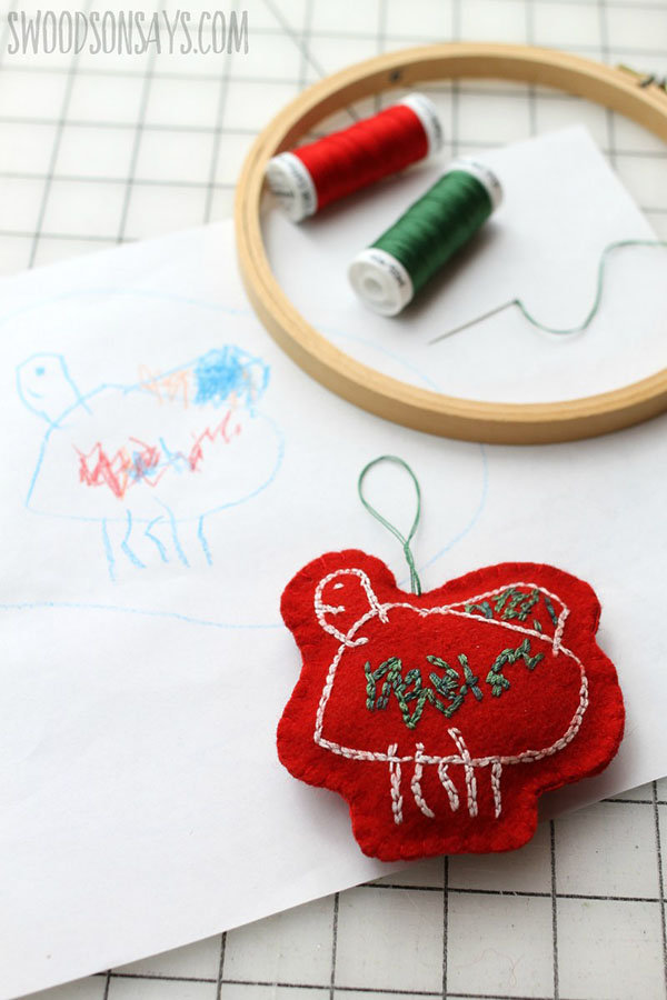 swoodsonsays how to turn kid's artwork into Christmas embroidery ornaments