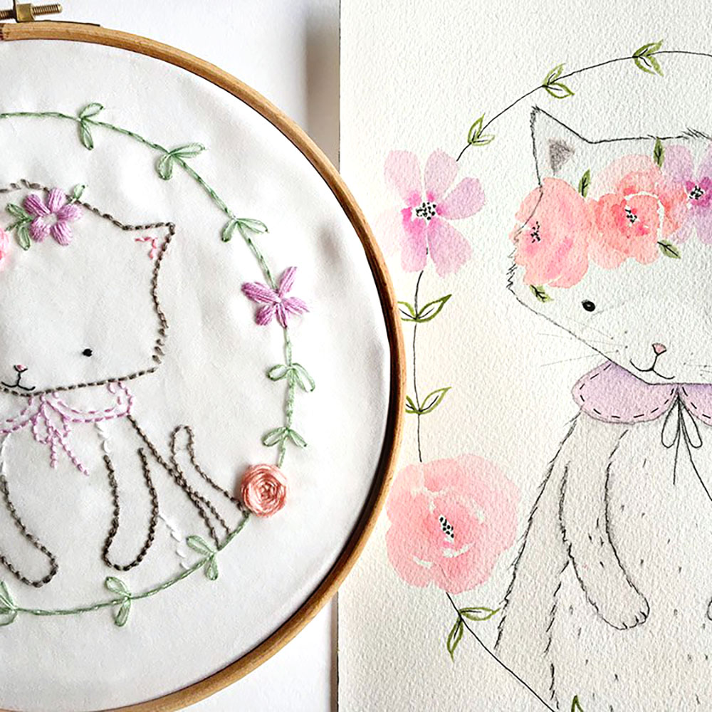 Bumpkin Hill Embroidery flower catsq