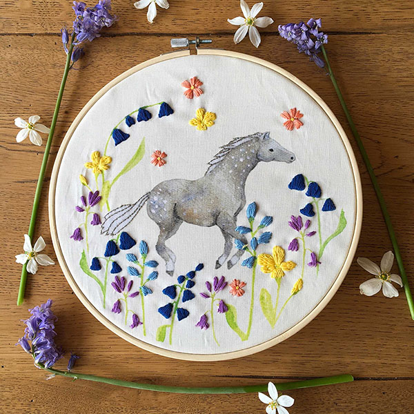 care free horse embroidery pattern by Bumpkin Hill