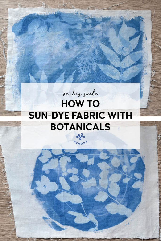 sun-printing fabric with leaves