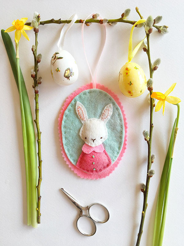 Bumpkin Hill Embroidery bunny felt ornament
