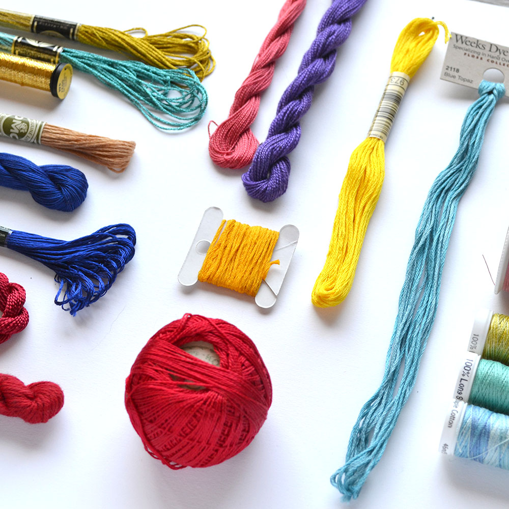 embroidery floss and threads