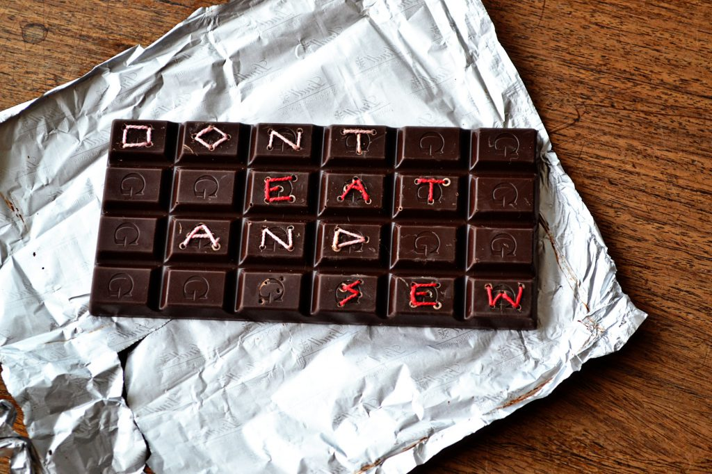 don't eat and sew chocolate embroidery