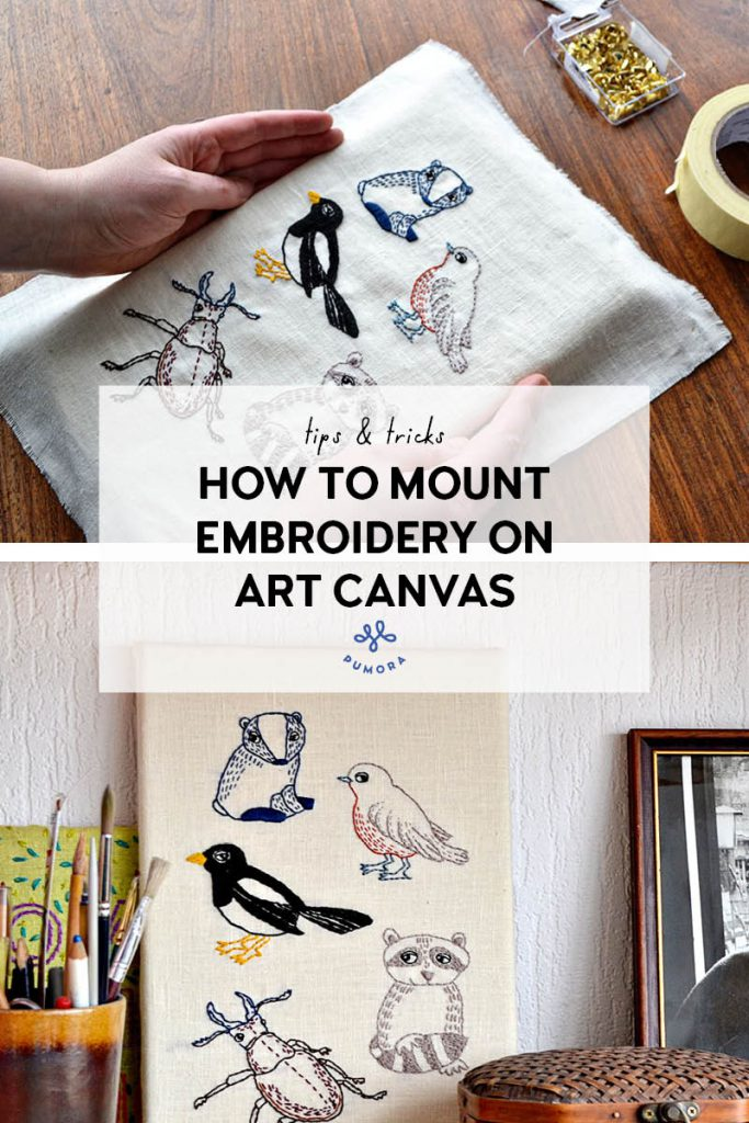 how to mount embroidery on art canvas