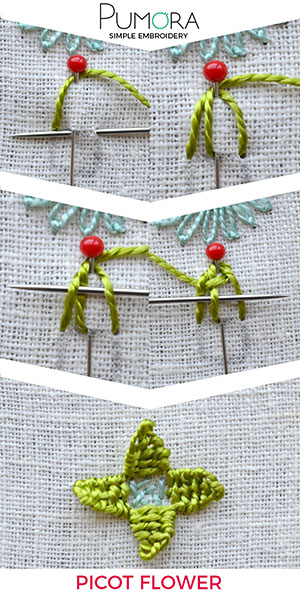 Picot flower embroidery stitch