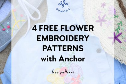 4 free flower embroidery patterns