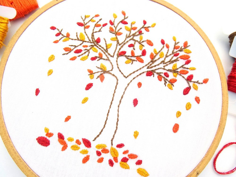 autumn tree embroidery pattern by wandering threads art
