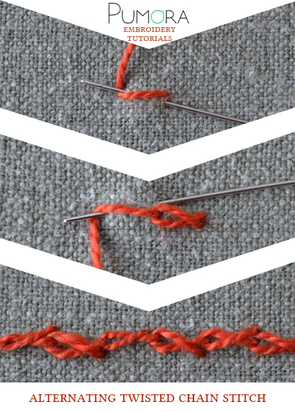 alternating twisted chain stitch tutorial