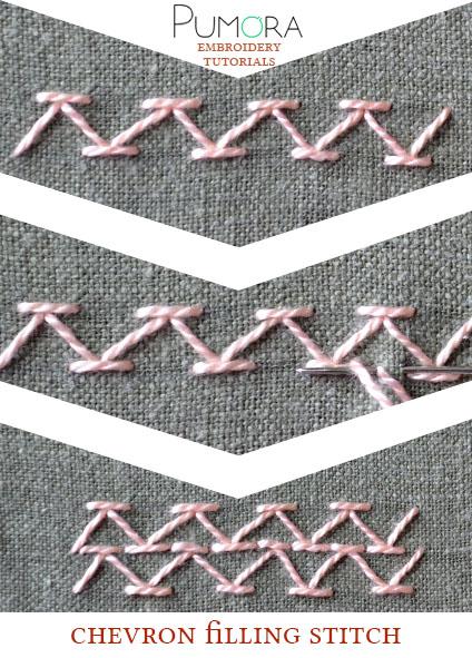 chevron filling stitch tutorial