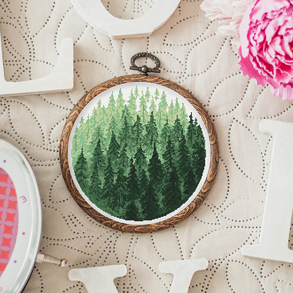 cosy evenings stitch forest cross stitch pattern
