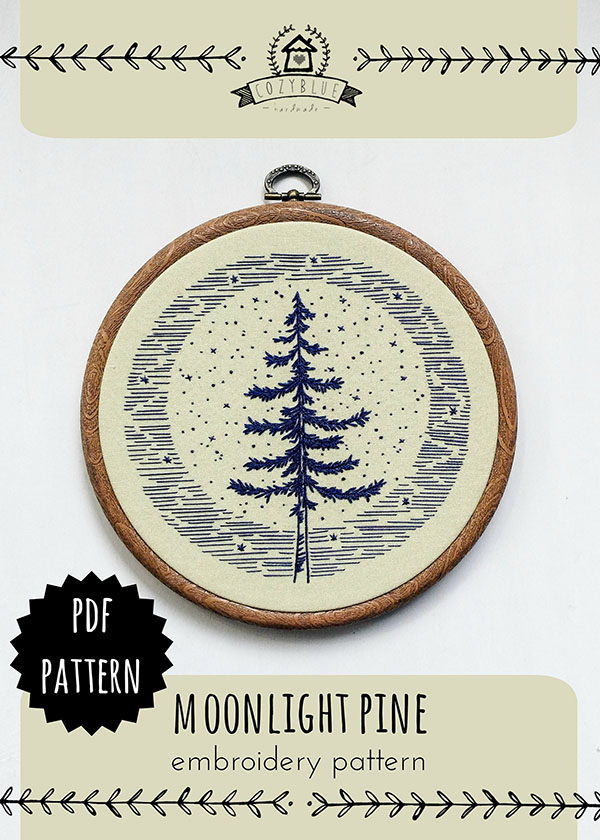 cozy blue moonlight pine embroidery pattern