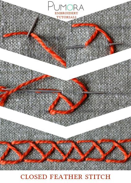 closed feather stitch tutorial