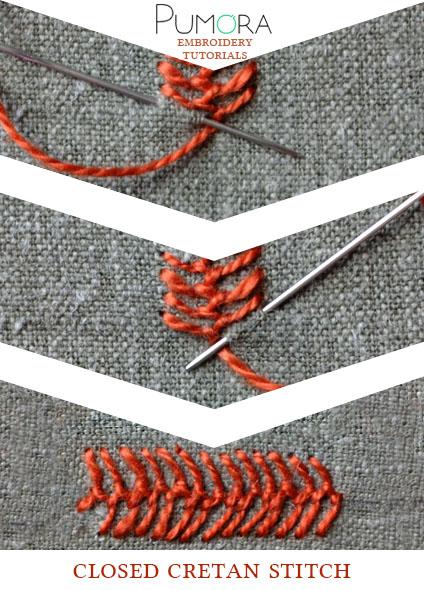 closed cretan stitch tutorial