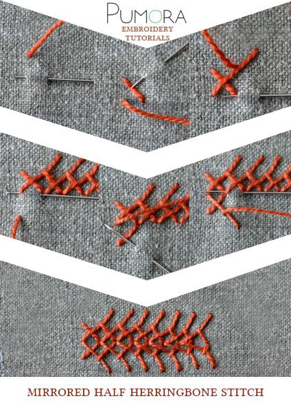 half mirrored herringbone stitch tutorial