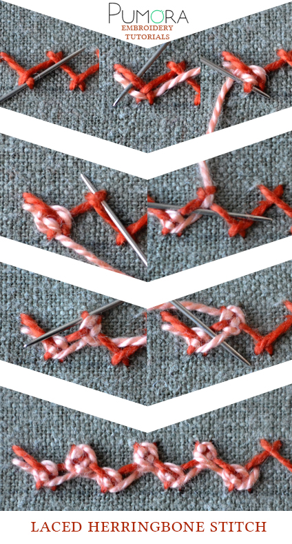 laced herringbone stitch tutorial