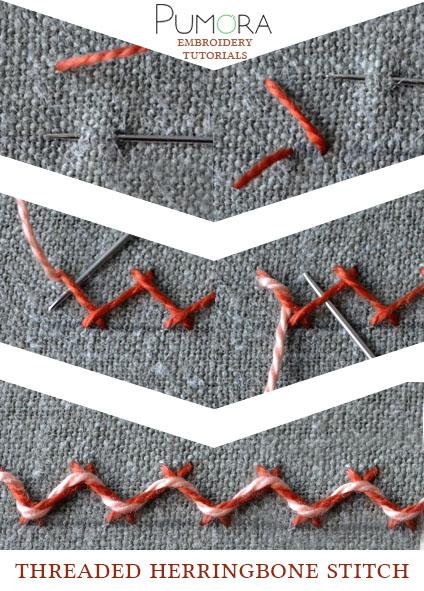 threaded herringbone stitch tutorial