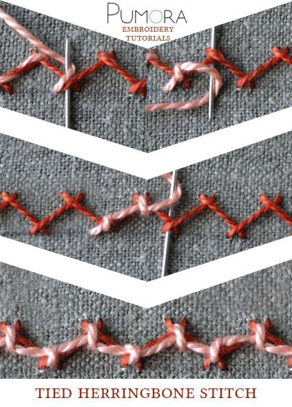 tied herringbone stitch tutorial