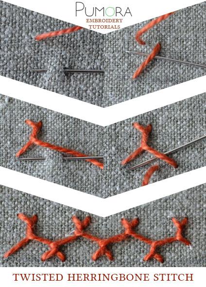 twisted herringbone stitch tutorial