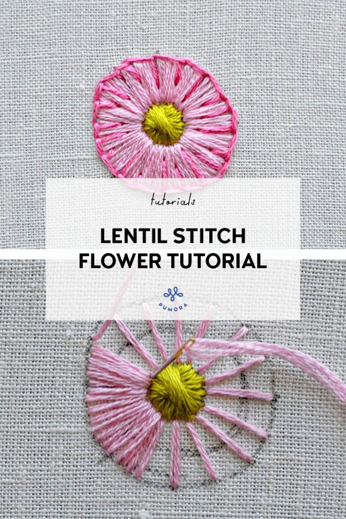 lentil stitch flower embroidery tutorial
