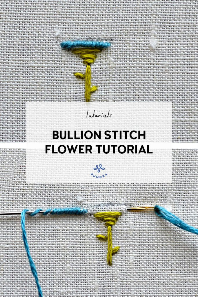 mini bullion stitch flower embroidery tutorial
