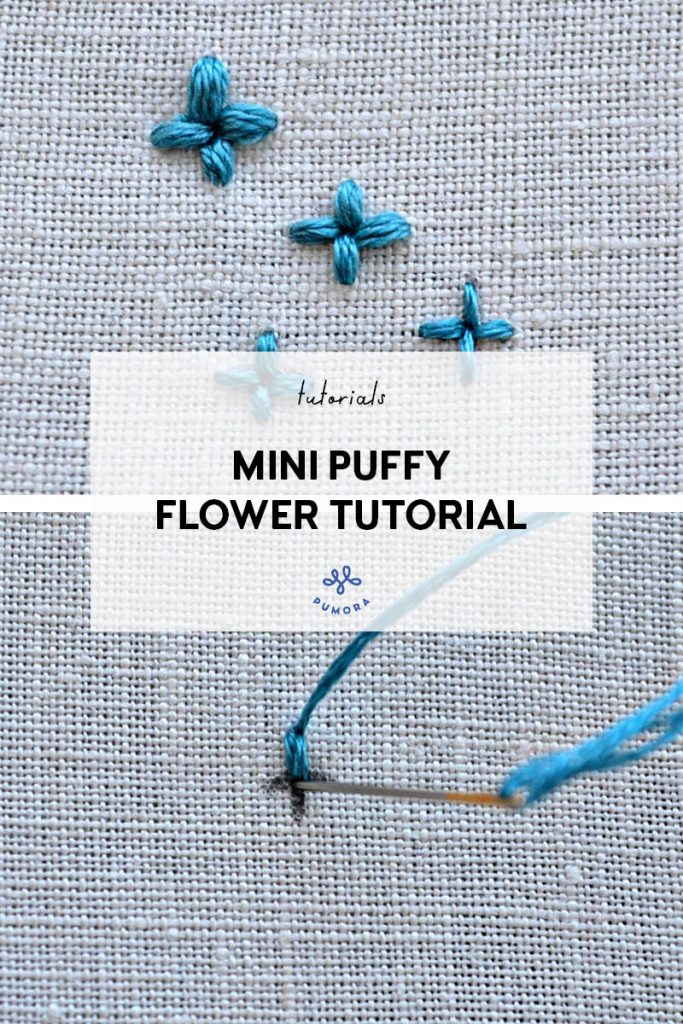 mini puffy flower embroidery tutorial